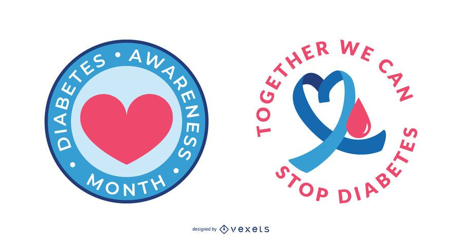 Diabetes awareness badge set