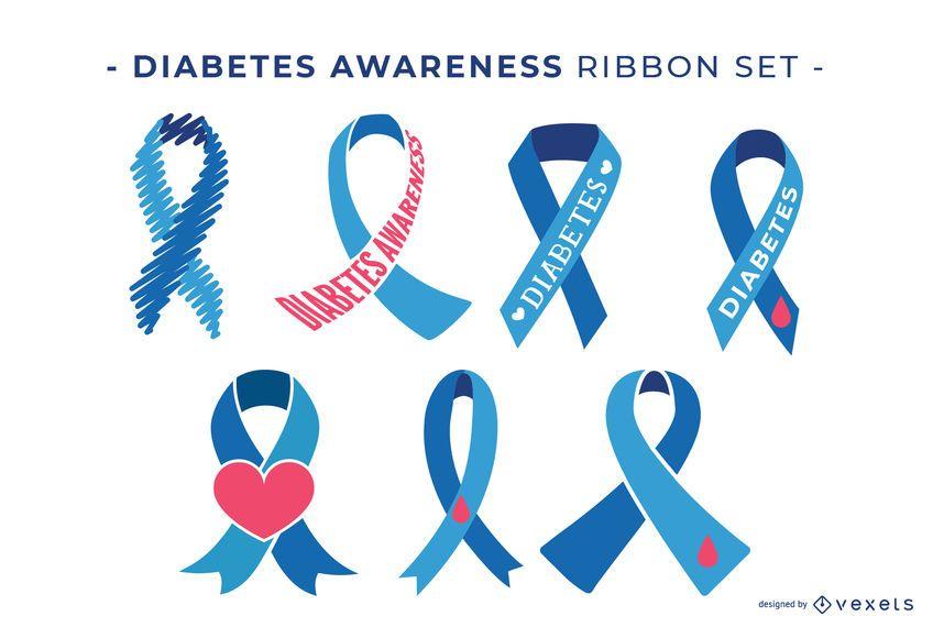 Diabetes awareness ribbon set