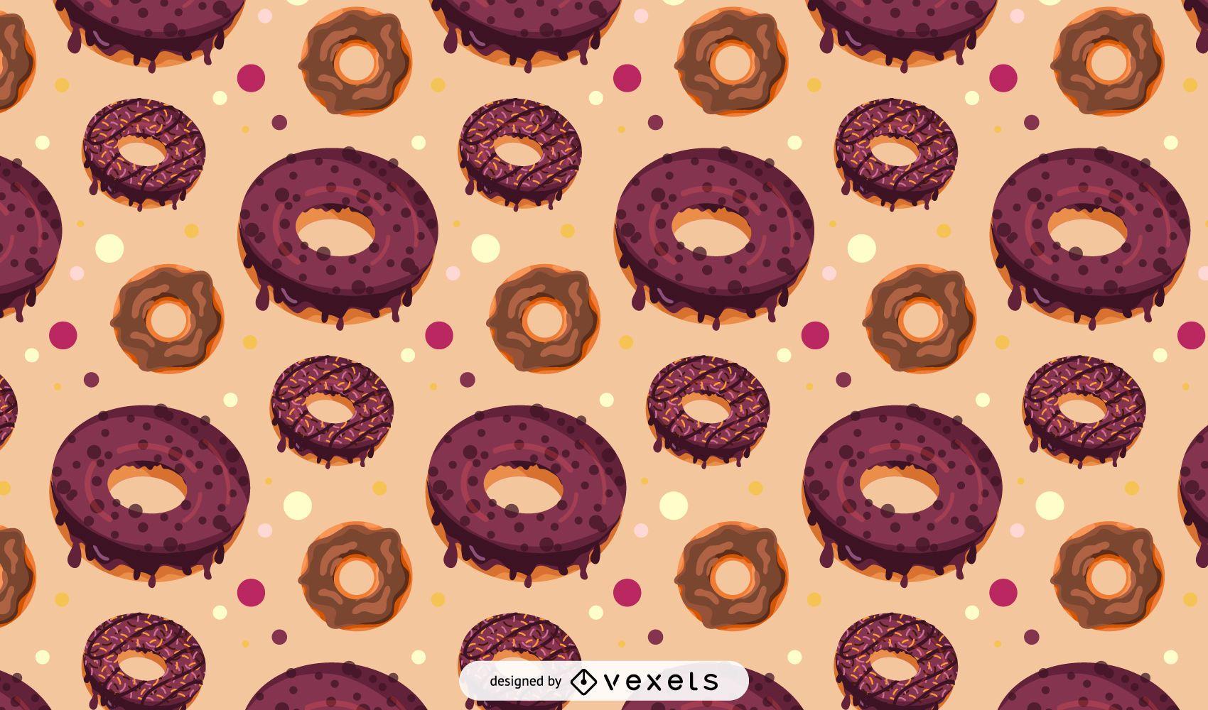 Diseño de patrón de donut de chocolate