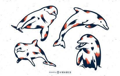 Conjunto de vectores de delfines duotono