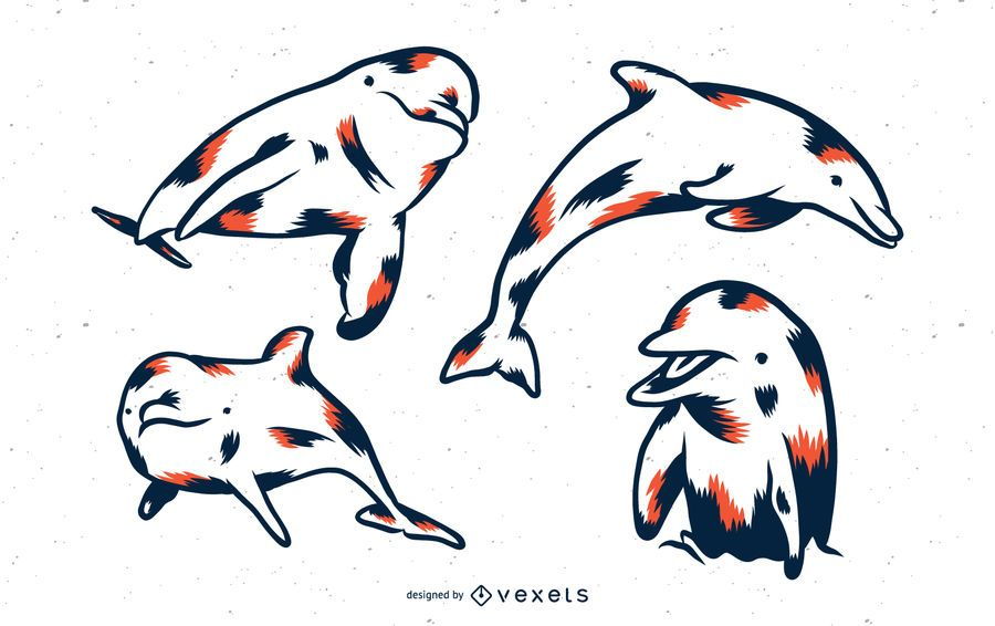 Duotone Dolphin Vector Set