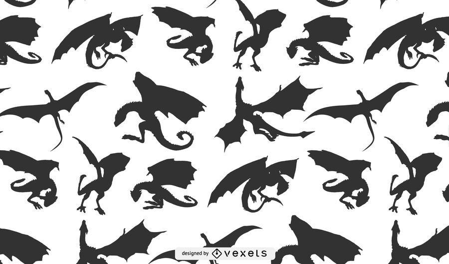 Projeto de padrão de silhueta de dragão