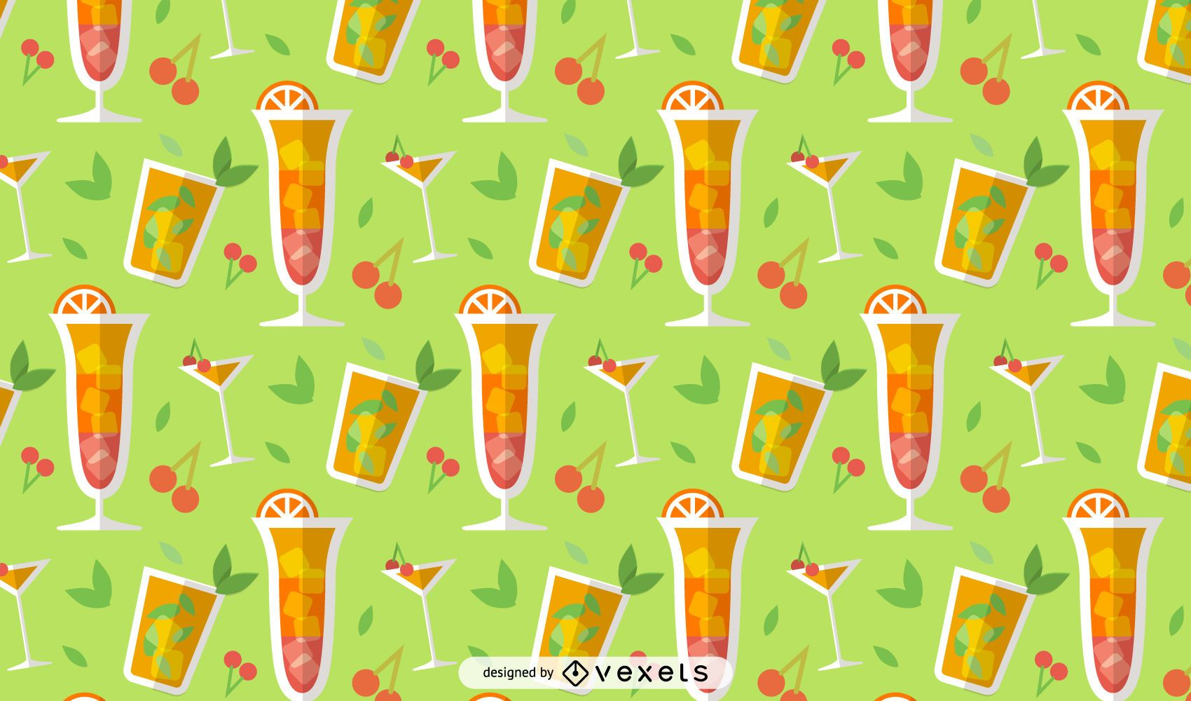 Summer drinks colorful pattern design