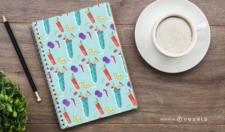 Colorful cocktails pattern design