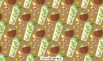 Summer cocktails pattern design