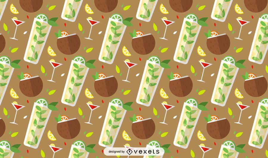 Summer cocktails pattern design