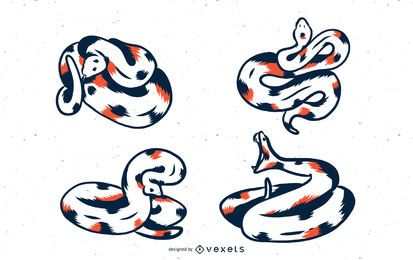 Duotone Snake Vector Set