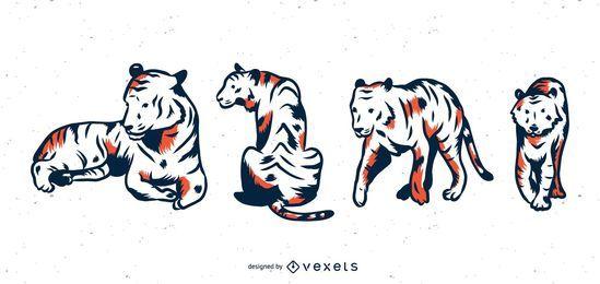 Conjunto de vetores de tigre Duotone