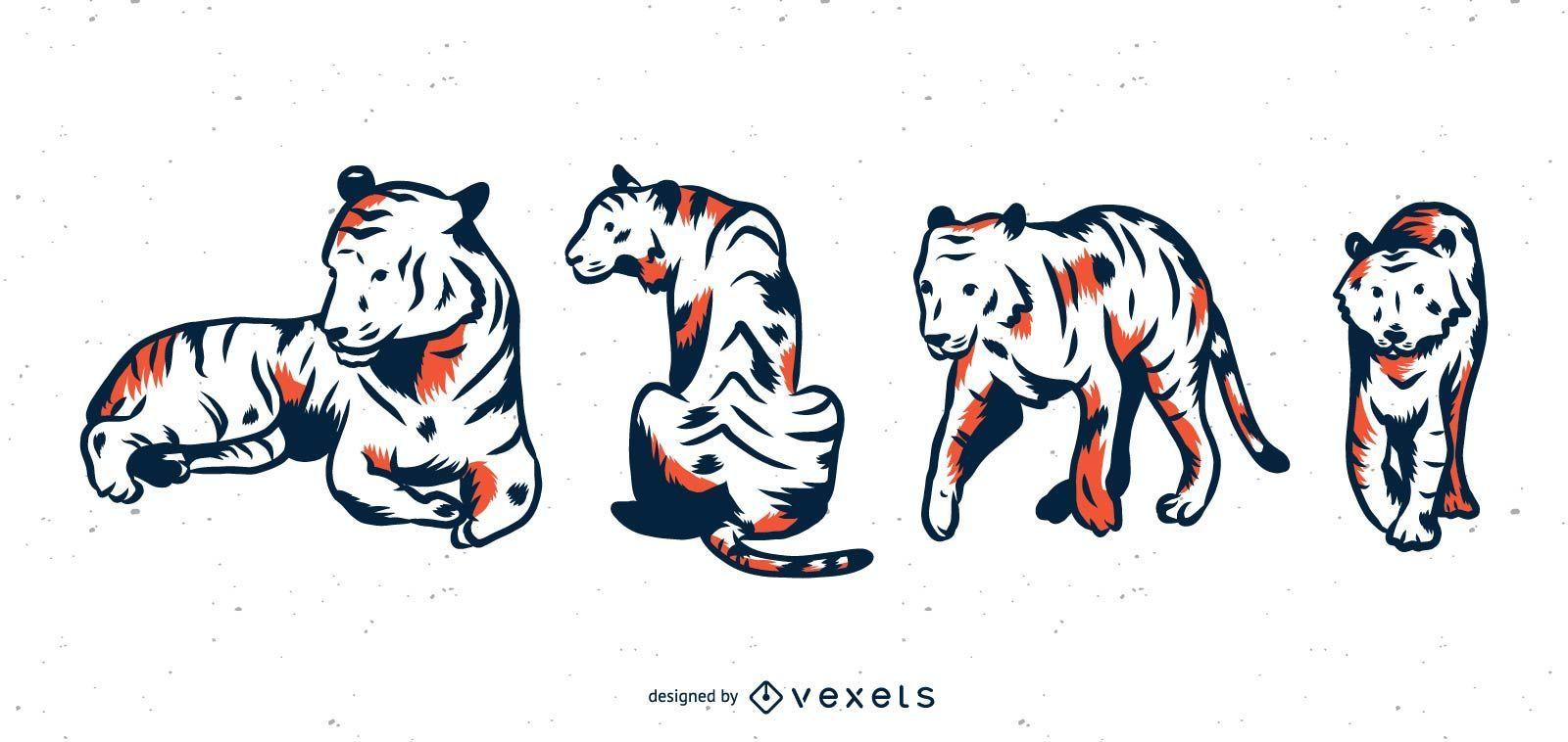 Conjunto de vetores Duotone Tiger