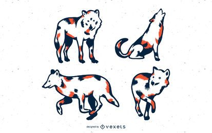 Duotone Wolves Vector Set