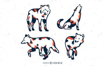 Duotone Wolves Vector Set