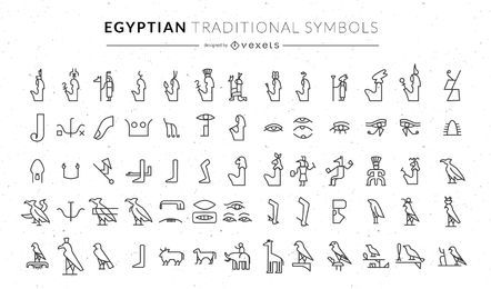 Egyptian traditional symbols set