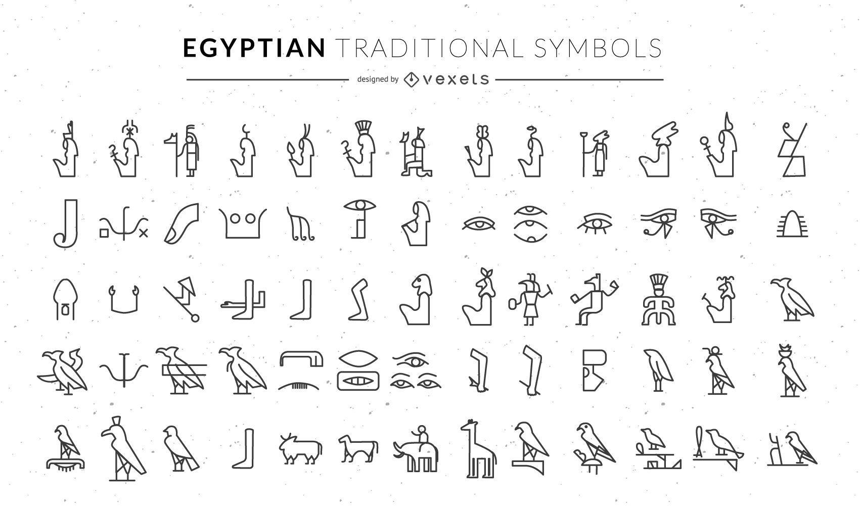 Ägyptische traditionelle Symbole gesetzt