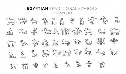 Conjunto de símbolos animais tradicionais egípcios