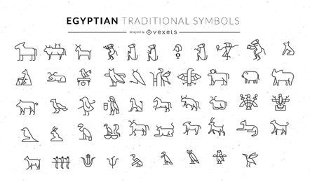 Egyptian traditional animal symbols set