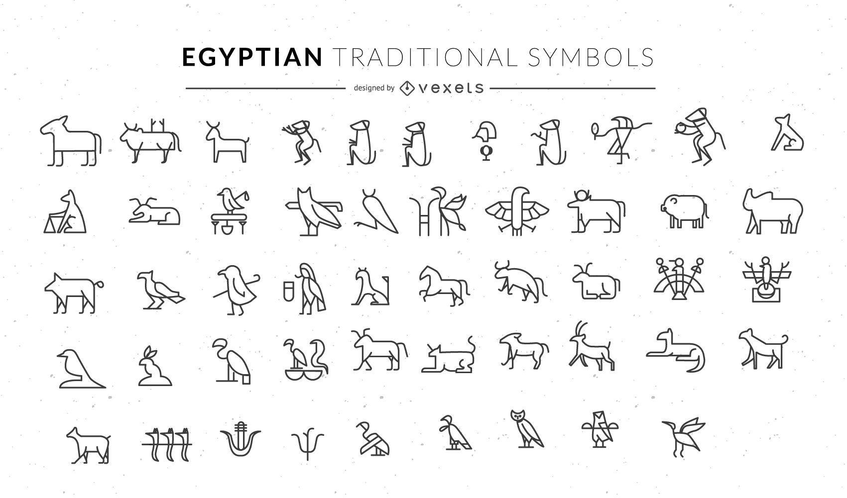 Conjunto de símbolos de animales tradicionales egipcios