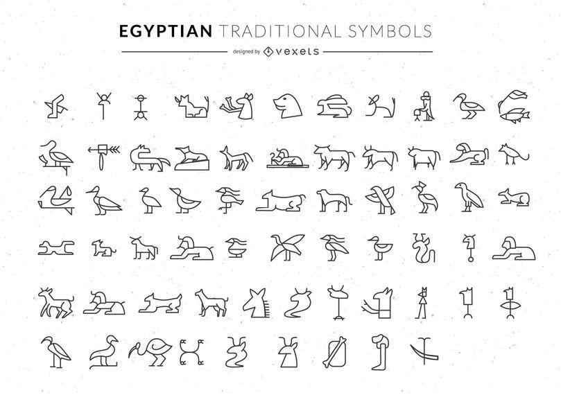 Colección de símbolos egipcios