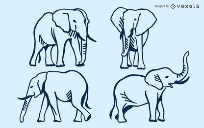 Elephant doodle set