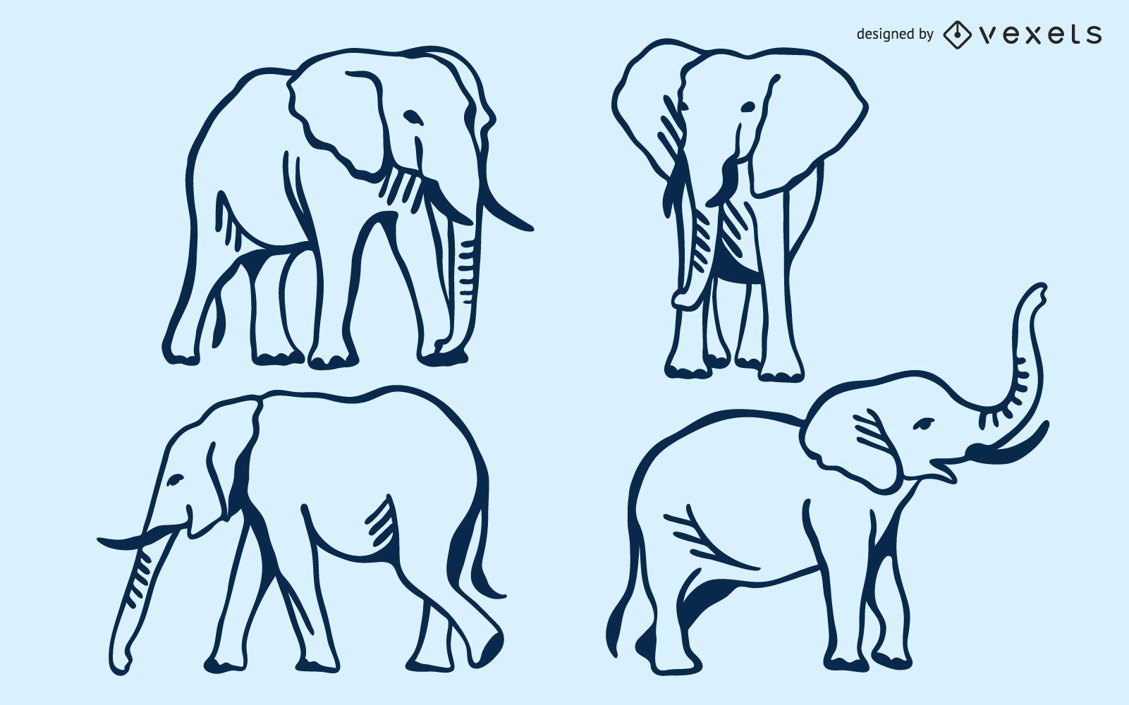 Conjunto de doodle de elefante