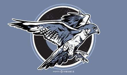 Gezeichnete Illustration des Falken Hand