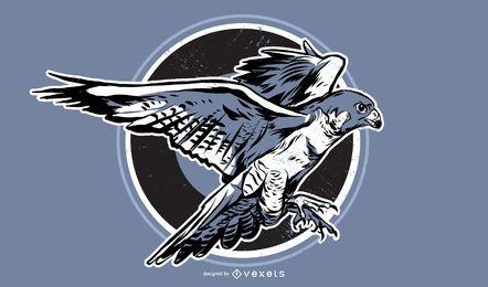 Hawk mão ilustrações desenhadas