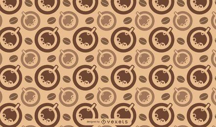 Patrón de tazas y granos de café