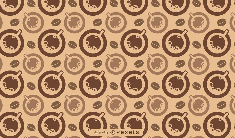 Coffee cups and beans pattern