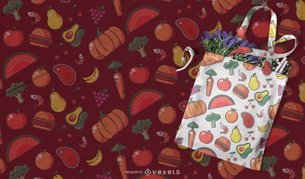 Colorful food seamless pattern design