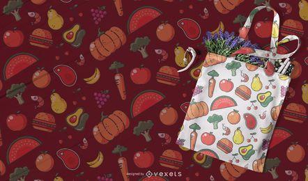 Design de padrão sem emenda de comida colorida