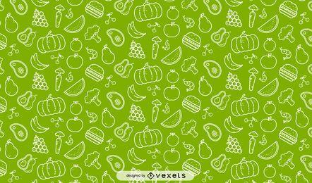 Padrão sem emenda de legumes e frutas