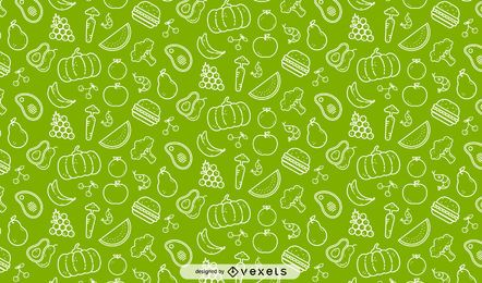 Veggies and fruits seamless pattern