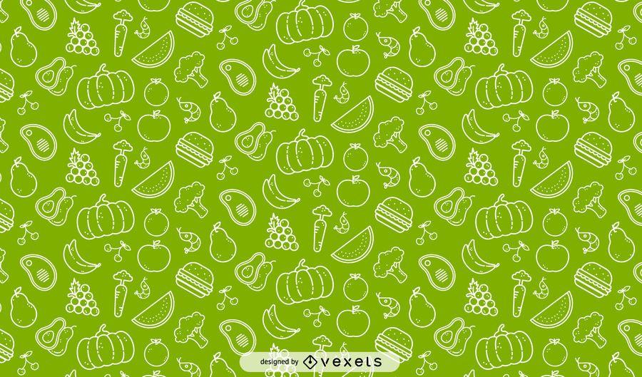 Nahtloses Muster von Gemüse und Früchten