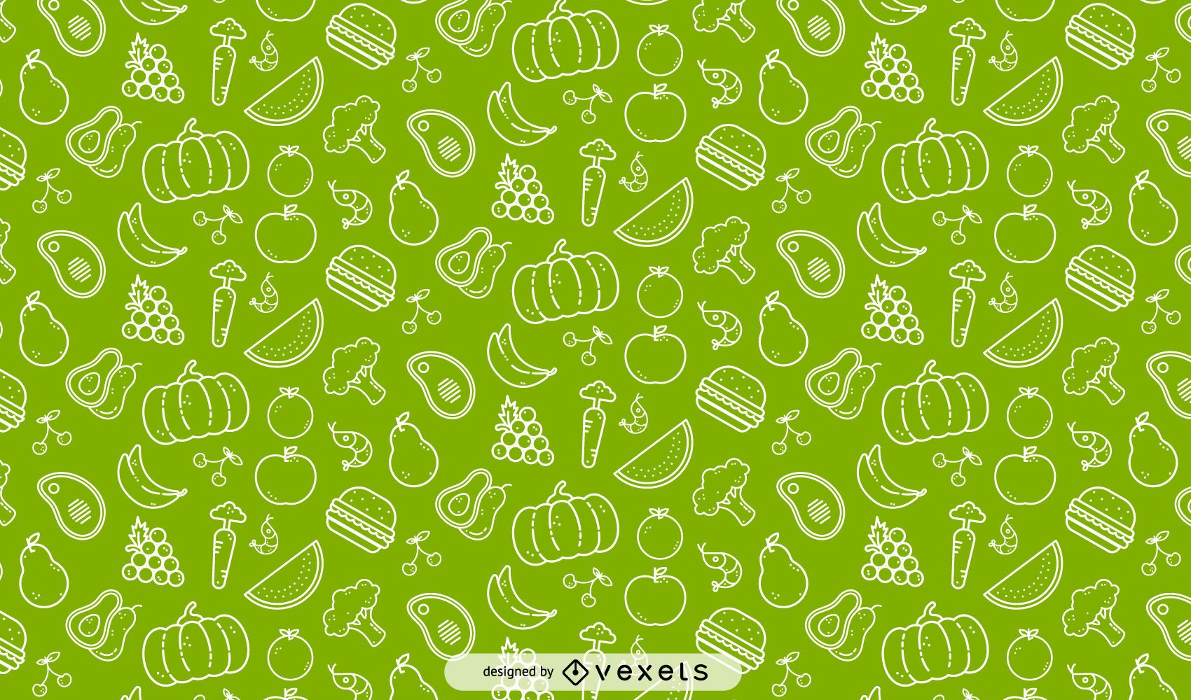 Veggies and fruits seamless pattern