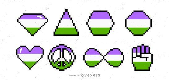 Conjunto de vectores de píxeles de bandera de genderqueer