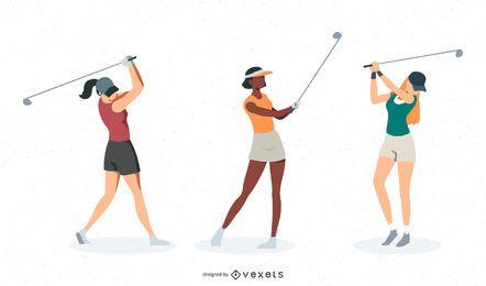 Conjunto de vetores de golfista feminino