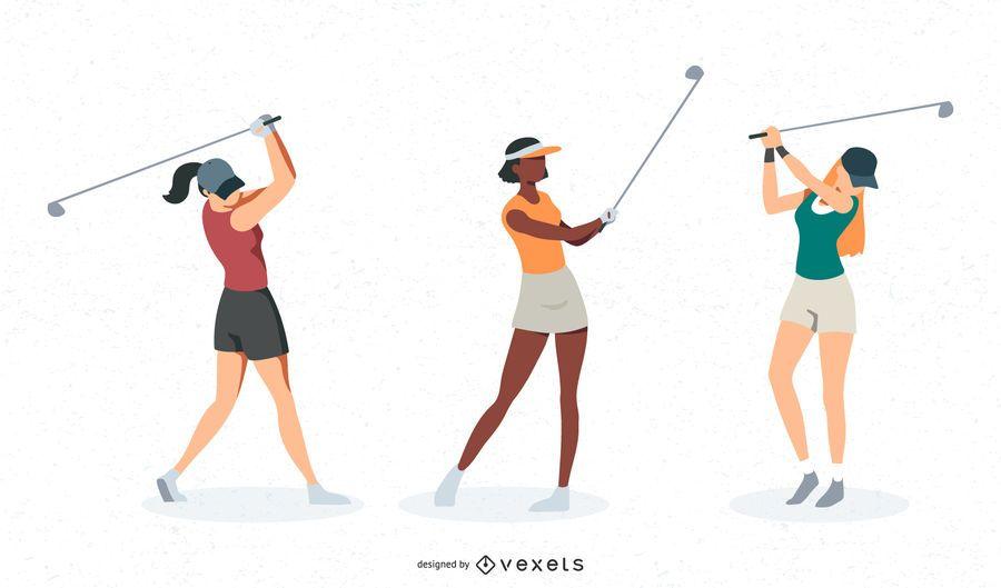 Female golfer vector set