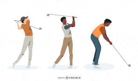 Conjunto de vetores de jogadores de golfe masculinos