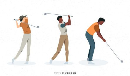 Male golfers vector set