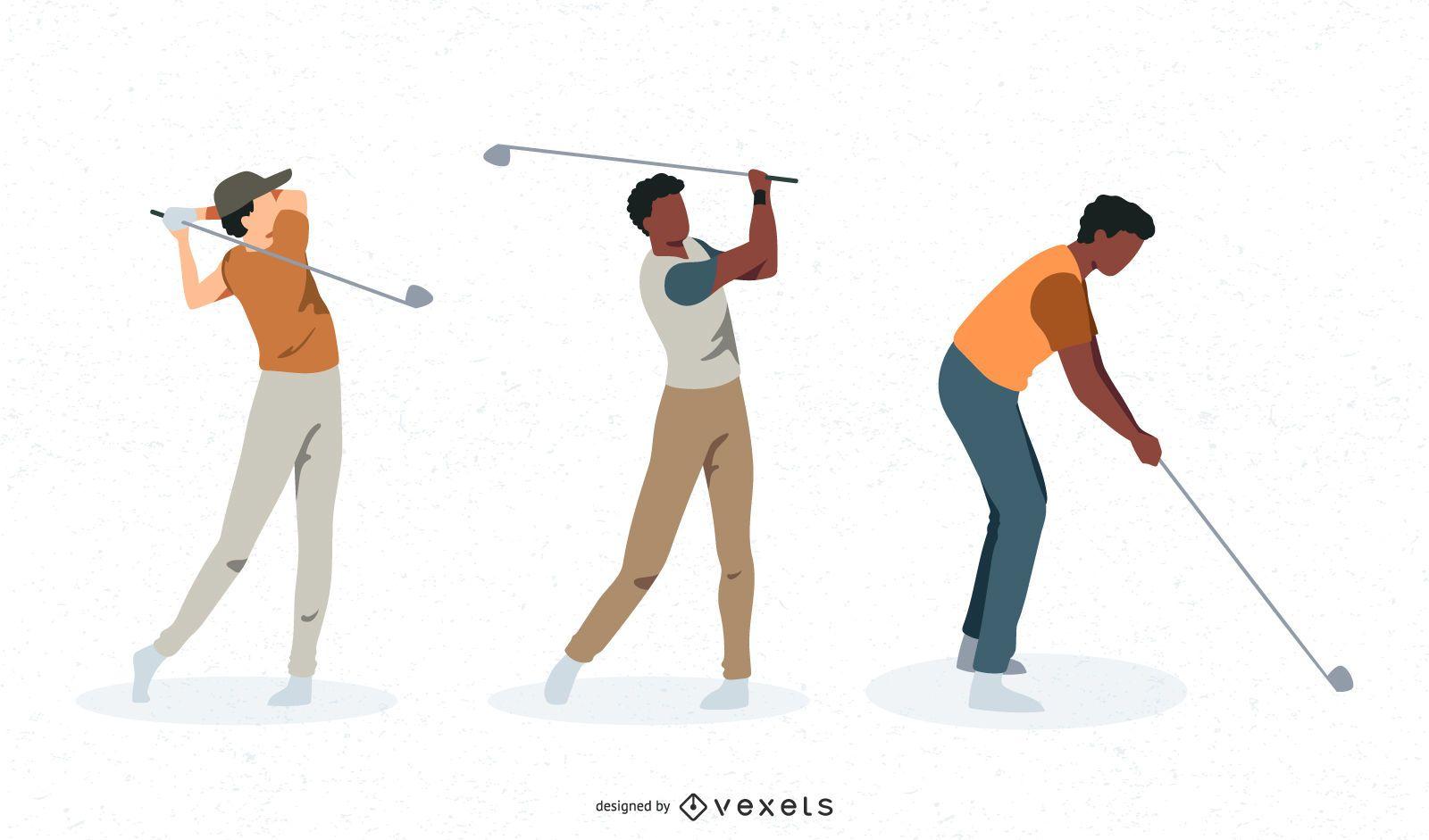 Male golfers vector set