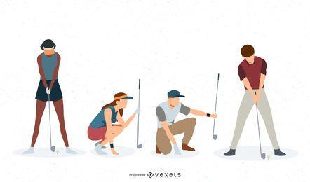 Conjunto de vetores de jogadores de golfe
