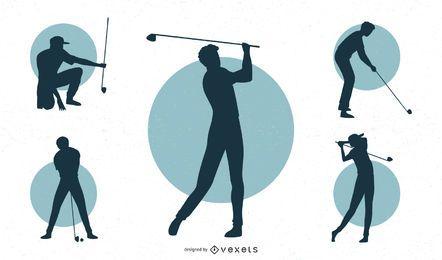 Conjunto de silhueta de jogador de golfe masculino