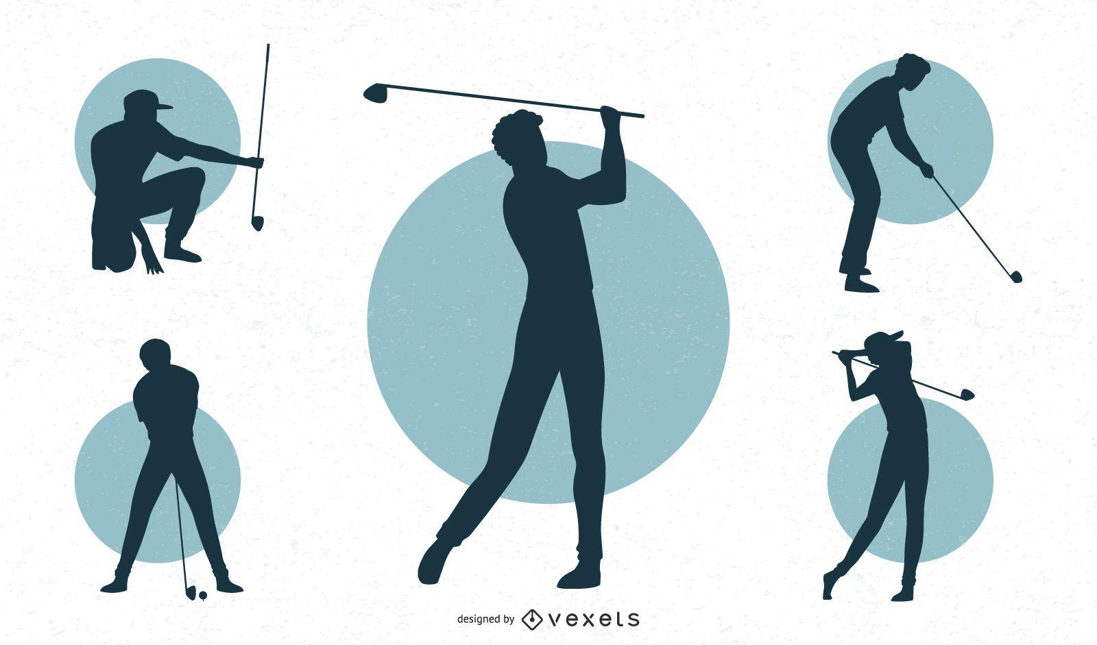 Conjunto de silueta de golfista masculino
