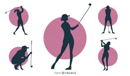 Conjunto de silhueta de jogador de golfe feminino