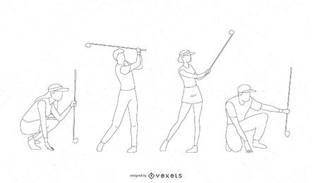 Golfers line vector set