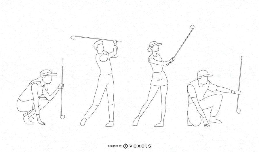 Golfers line vector set