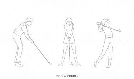 Golf players thin line set