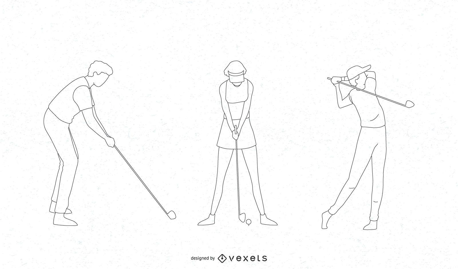 Golf players thin line set