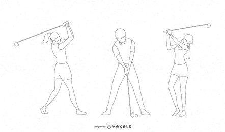 Conjunto de caracteres de linha de jogadores de golfe