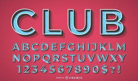 Conjunto de vector azul 3D alfabeto