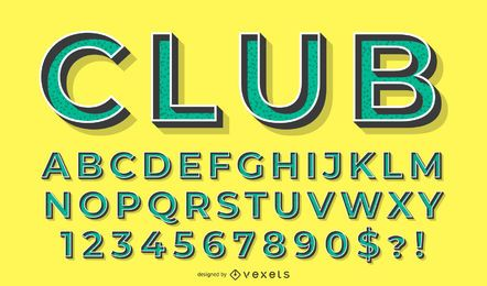 Alphabet 3D green vector set